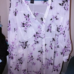 Guaze material button up tunic blouse torrid 3